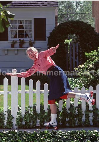 Grandma on roller skates, Los Angeles, 1980. Photo by John G. Zimmerman.