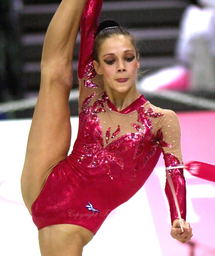 03 OCTOBER 1999 - OSAKA, JAPAN: Irina Tchachina of Russia performs with Ribbon at the 1999 World Championships in Osaka, Japan. Irina went on to become 2004 Athens Olympic <br />