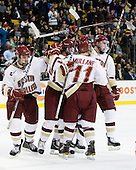 Chris Kreider (BC - 19), Edwin Shea (BC - 8), Pat Mullane (BC - 11), Jimmy Hayes (BC - 10) - The Boston College Eagles defeated the Boston University Terriers 3-2 (OT) in their Beanpot opener on Monday, February 7, 2011, at TD Garden in Boston, Massachusetts.