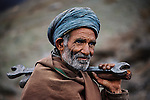 Train engineer, Landi Kotal, Pakistan, 1983<br />