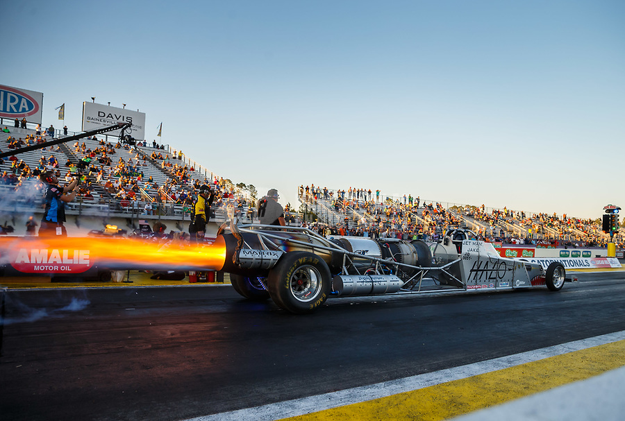 Mar 17, 2017; Gainesville , FL, USA; NHRA jet dragster driver Jake Elliott launches off the starting line during qualifying for the Gatornationals at Gainesville Raceway. Mandatory Credit: Mark J. Rebilas-USA TODAY Sports