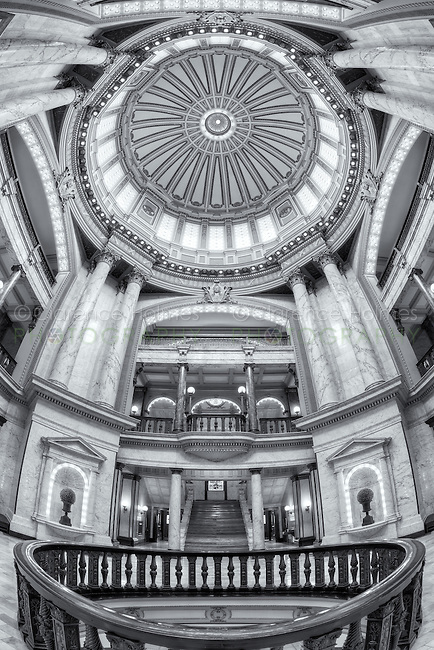 A view of the beautiful rotunda inside the Mississippi State Capitol in Jackson, Mississippi.