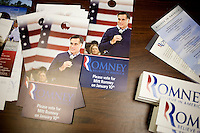 Campaign materials lay on a table in the Mitt  Romney New Hampshire campaign headquarters in Manchester, New Hampshire, on Jan. 7, 2012. Romney is seeking the 2012 Republican presidential nomination.
