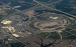 May 18, 2012; Kansas City, KS, USA: Aerial view of the Kansas Speedway. Mandatory Credit: Mark J. Rebilas-