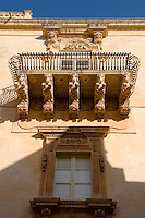 Baroque Balcony support Sculptures, Noto, Sicily. UNESCO World Heritage Site