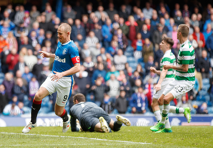 Kenny Miller scores a consolation goal for Rangers and wheels away to collect the ball