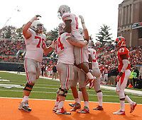 Ohio State Buckeyes wide receiver Philly Brown (10) celebrates a touchdown pass with teammates during Saturday's NCAA Division I football game against Illinois at Memorial Stadium in Champaign, Il., on November 16, 2013. Ohio State led at halftime with a score of 35-14. (Barbara J. Perenic/The Columbus Dispatch)