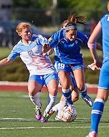 Boston Breakers defender Bianca D'Agostino (19) breaks free from Chicago Red Stars midfielder/forward Lori Chalupny (17) in a tackle.  The Boston Breakers beat the Chicago Red Stars 1-0 at Dilboy Stadium.