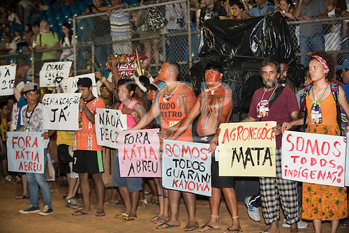 Indigenous people demonstrate against Brazilian government policies during the International Indigenous Games, in the city of Palmas, Tocantins State, Brazil. Photo © Sue Cunningham, pictures@scphotographic.com 27th October 2015