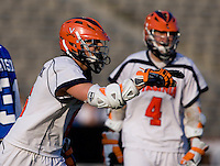 Steele Stanwick (6) of Virginia celebrates his goal during the ACC men's lacrosse tournament semifinals in College Park, MD.  Virginia defeated Duke, 16-12.