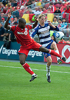 July 24, 2010 FC Dallas defender/midfielder Brek Shea #20 and Toronto FC defender Nana Attakora #3 in action during a game between FC Dallas and Toronto FC at BMO Field in Toronto..Final score was 1-1.