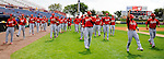 7 March 2012: The St. Louis Cardinals start their calisthenic warm-ups prior to a game against the Washington Nationals at Space Coast Stadium in Viera, Florida. The teams battled to a 3-3 tie in Grapefruit League Spring Training action. Mandatory Credit: Ed Wolfstein Photo
