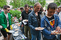 Moscow, Russia, 12/05/2012..Food being distributed to protesters in Chistiye Prudy, or Clean Ponds, a park in central Moscow were some 200 opposition activists have set up camp.