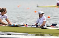 Hamilton, NEW ZEALAND.  USA W8+ cox Mary WHIPPLE, guides the eight onto the start pontoon. 2010 World Rowing Championships, Lake Karapiro. Tuesday - 02.11.2010, [Mandatory Credit Peter Spurrier:Intersport Images].