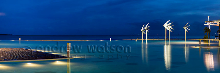 Esplanade Lagoon at twilight.  Cairns, Queensland, AUSTRALIA