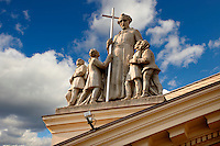 statue on a Neo Classic school-  Kecskemét , Hungary