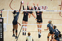 STANFORD, CA - September 9, 2016: Jenna Gray, Audriana Fitzmorris at Maples Pavilion. The Purdue Boilermakers defeated the Stanford Cardinal 3 - 2.