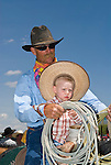 Jordan Valley Big Loop Rodeo..Mike Smit with his grandson Jacob on horseback