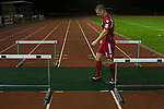 Connah's Quay Nomads 1 Llandudno 1, 20/09/2016. Deeside Stadium, Welsh Premier League. Home captain Tom Field walking off the pitch at the Deeside Stadium after Connah's Quay Nomads (in red) played Llandudno in a Welsh Premier League match. Both clubs represented Wales in the 2016-17 Europa League, the first time either had competed in European competition. The match ended in a 1-1 draw, watched by 181 spectators. Photo by Colin McPherson.