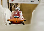 8 January 2016: Elfje Willemsen, piloting her 2-man bobsled for Belgium, enters the Chicane straightaway on her first run, ending the day with a combined 2-run time of 1:54.43 and earning a 4th place finish at the BMW IBSF World Cup Championships at the Olympic Sports Track in Lake Placid, New York, USA. Mandatory Credit: Ed Wolfstein Photo *** RAW (NEF) Image File Available ***
