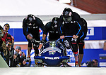 22 November 2009:  John Napier, piloting the USA 2 bobsled, leads his 4-man team to a 2nd place finish at the FIBT World Cup competition, in Lake Placid, New York, USA. Mandatory Credit: Ed Wolfstein Photo
