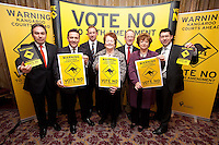 NO REPRO FEE. VOTE NO TO THE 30TH AMENDMENT. Pictured at the Official launch of the 'NO' Campaign at the The Westbury Hotel, Dubliin are L-R Mark Kelly, Director, Irish Council for Civil Liberties, Donnacha O'Connell, National University of Ireland Galway, Oisín Quinn SC and Dublin City Councilor (Labour), Mary O'Rourke, former TD, Senator and Oireachtas Committee Chair, Professor Gerry Whyte, Trinity College Dublin, Constitutional Law expert , Catherine Murphy TD and Senator Ronán Mullen Picture James Horan/Collins.