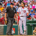 15 June 2016: Washington Nationals third baseman Anthony Rendon discusses a call with umpire Bob Davidson during a game against the Chicago Cubs at Nationals Park in Washington, DC. The Nationals defeated the Cubs 5-4 in 12 innings to take the rubber match of their 3-game series. Mandatory Credit: Ed Wolfstein Photo *** RAW (NEF) Image File Available ***