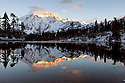 WA11145-00...WASHINGTON - Mount Shuksan reflected in Picture Lake, Heather Meadows National Recreation Area.