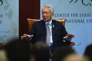 Washington, DC - September 15, 2016: Perfecto Yasay, Jr., Secretary of Foreign Affairs of the Philippines, speaks during a discussion about Philippine foreign policy at the Center for Strategic and International Affairs in the District of Columbia, September 15, 2016  (Photo by Don Baxter/Media Images International)