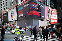 A billboard in Times Square in New York on Wednesday, October 17, 2012 announces the arrival of the Microsoft entry into the tablet wars, the Surface RT. The company's foray into tablet hardware will run the new Windows 8 OS and will be available on October 26. The company is opening up two pop-up stores in New York, one in Columbus Circle and one beneath this billboard in Times Square. (© Richard B. Levine)
