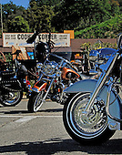 Stock photo of motorcycles in front of Cook Corner Orange County California