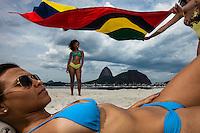 Young Brazilian women have fun at the beach in Rio de Janeiro, Brazil.