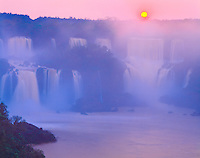 Setting Sun at Iguazu Falls, Iguazu Falls National Park, Brazil Huge waterfall in Southern Brazil   UNESCO World Heritage Site