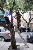 "Yarn bombing, Annuska, Lucas and Miriam ""yarn bombing"" a tree in Condesa, Mexico City."