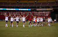 Abby Wambach (20), Rachel Buehler (19), Heather O'Reilly (9), Kristie Mewis (8), Crystal Dunn (6) of the USWNT salute the crowd with their teammates after an international friendly at RFK Stadium in Washington, DC.  The USWNT defeated Mexico, 7-0.