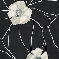 Raku Flower Small, a stone water jet mosaic, shown in Verde Luna, Calacatta Tia, and Nero Marquina, is part of the Ann Sacks Beau Monde collection sold exclusively at www.annsacks.com
