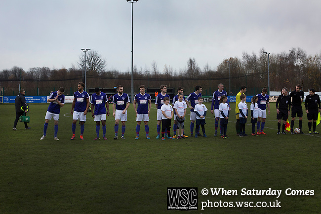 City of Liverpool 6 Holker Old Boys 1, 10/12/2016. Delta Taxis Stadium, North West Counties League Division One. The home team lines up on the pitch at the Delta Taxis Stadium, Bootle, Merseyside before City of Liverpool hosted Holker Old Boys in a North West Counties League division one match. Founded in 2015, and aiming to be the premier non-League club in Liverpool, City were admitted to the League at the start of the 2016-17 season and were using Bootle FC's ground for home matches. A 6-1 victory over their visitors took 'the Purps' to the top of the division, in a match watched by 483 spectators. Photo by Colin McPherson.