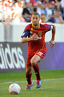 Alvaro Saborio (15) of Real Salt Lake during a Major League Soccer (MLS) match at Red Bull Arena in Harrison, NJ, on October 09, 2010.