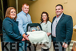 Baby Harry Moloney with his parents Denis Moloney & Sinead Sheehy, Duagh  and god parents Leslie Moloney & Denis Sheehy who was christened in Duagh Church by Fr. Paul Dillon on Saturday last and afterwards at the Listowel Arms Hotel.