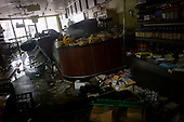 New York, New York.October 30, 2012..A small cafe in lower Manhattan, overturned by the destruction of Hurricane Sandy.