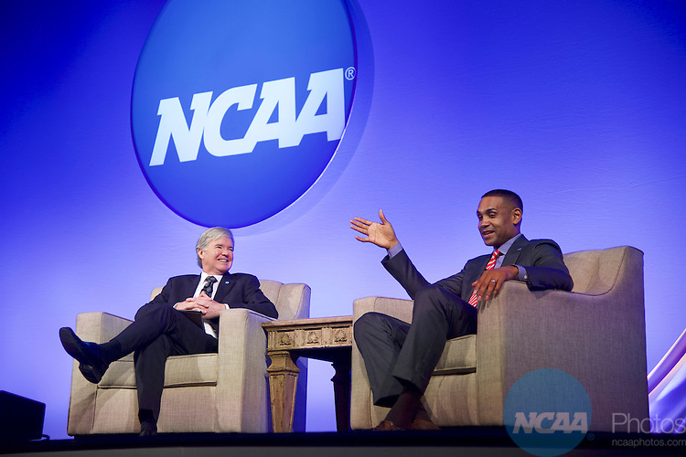 20 JAN 2017: The NCAA Association Luncheon takes place during the 2017 NCAA Convention at the Gaylord Opryland Resort and Convention Center in Nashville, TN.  Jamie Schwaberow/NCAA Photos  (Pictured:  Grant Hill, Dr Mark Emmert)