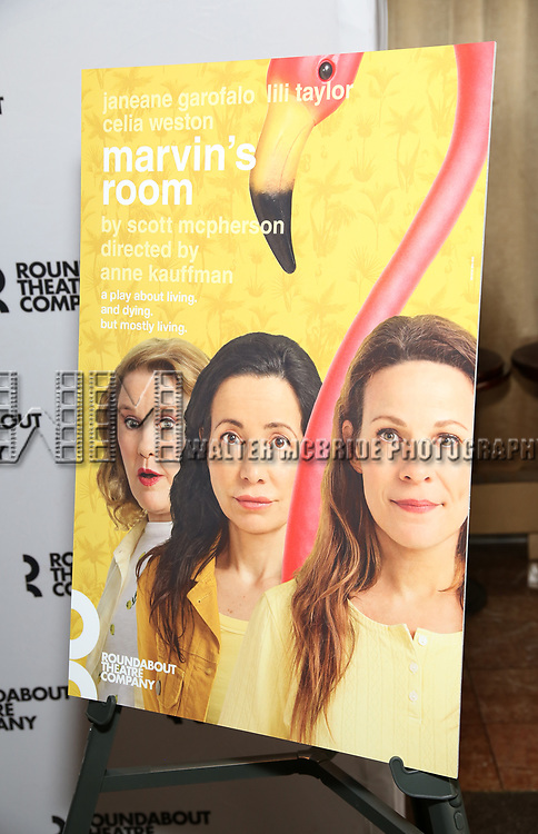 Theatre poster art for the cast photo call for the Roundabout Theatre Company's production of 'Marvin's Room'  at American Airlines Theatre on May 11, 2017 in New York City.
