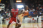"Ole Miss' Jarvis Summers (32) vs. Rutgers' Dane Miller (2) at the C.M. ""Tad"" Smith Coliseum in Oxford, Miss. on Saturday, December 1, 2012. (AP Photo/Oxford Eagle, Bruce Newman).."