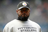 Head coach Mike Tomlin of the Pittsburgh Steelers looks on during warm ups prior to the game against the Seattle Seahawks at CenturyLink Field on November 29, 2015 in Seattle, Washington. (Photo by Jared Wickerham/DKPittsburghSports)