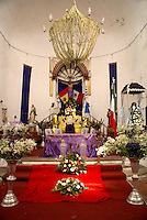 Main altar of La Iglesia de Cristo de Buen Viaje on the main square of  La Anitgua, Veracruz, Mexico. The village of La Antigua dates back to 1525. Hernan Cortes reportedly scuttled his ships here before marching inland to conquer the Aztecs.