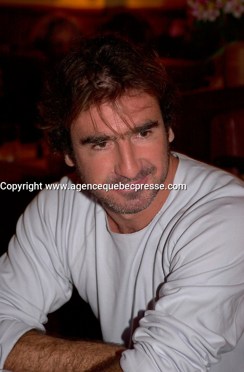 August 27,  2003, Montreal, Quebec, Canada<br /> <br /> Eric Cantona, the French soccer star-turned-screen actor attend the Montreal World Film Festival for the international premiere of his latest film, The Overeater (L'Outremangeur.<br /> )The  film i's showing in the Festival's Out of Competition section. <br /> <br /> The Festival runs from August 27th to september 7th, 2003<br /> <br /> <br /> Mandatory Credit: Photo by Pierre Roussel- Images Distribution. (&copy;) Copyright 2003 by Pierre Roussel <br /> <br /> All Photos are on www.photoreflect.com, filed by date and events. For private and media sales