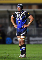 Dave Attwood looks on during a break in play. Aviva Premiership match, between Bath Rugby and Northampton Saints on September 14, 2012 at the Recreation Ground in Bath, England. Photo by: Patrick Khachfe / Onside Images