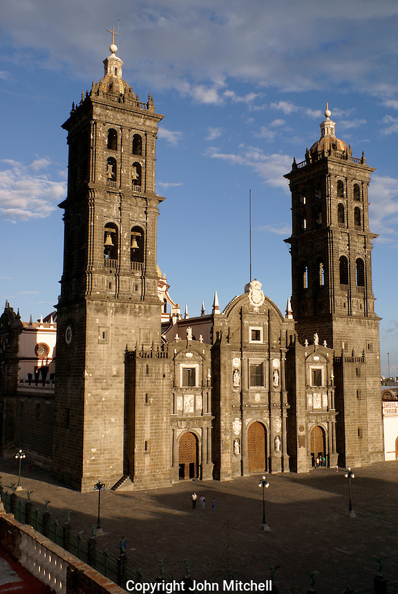 Cathedral in the city of Puebla, Mexico. The historical center of Puebla is a UNESCO World Heritage Site.
