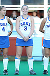 16 October 2015: Duke's Heather Morris. The University of North Carolina Tar Heels hosted the Duke University Blue Devils at Francis E. Henry Stadium in Chapel Hill, North Carolina in a 2015 NCAA Division I Field Hockey match. UNC won the game 2-1.