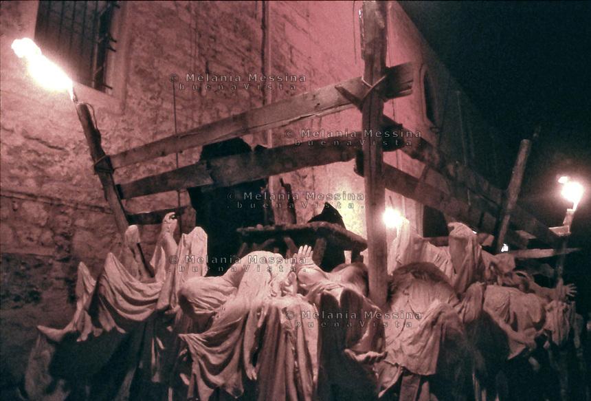 Palermo, feast of Saint Rosalia: the charriot of plague victims, metaphor of the death redeemed by Saint Rosalia.<br /> Palermo, festino di Santa Rosalia: il carro degli appestati, metafora della morte riscattata da Santa Rosalia.